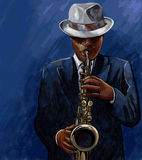 Saxophonist playing saxophone on a blue background Stock Images