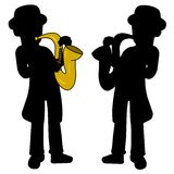 Saxophonist silhouettes royalty free stock photo