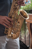 Saxophonist in the street Stock Photography