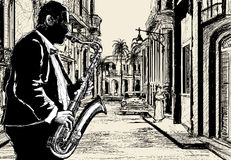 Saxophonist in a street of Cuba. Illustration of a saxophonist in a street of Cuba Royalty Free Stock Photos