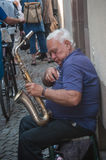 Saxophonist in the street  in Strasbourg Stock Photography
