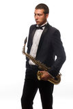 Saxophonist in suit with tie Royalty Free Stock Images