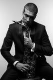 Saxophonist in tuxedo BW Stock Image