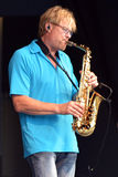Saxophonist Walle Larsson Lizenzfreies Stockbild