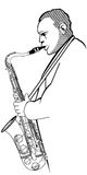Saxophonist on a white background. Vector illustration of a saxophonist on a white background Stock Photography