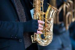 Saxophoniste de main Photographie stock libre de droits