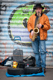 Saxophoniste de rue Image stock