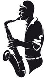 Saxophoniste, silhouette Images stock