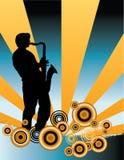 Saxophonspielerhintergrund stock abbildung