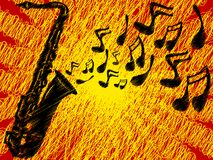 SaxSunBurst. Sax Blowing Notes into the Air stock illustration
