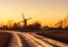 Saxtead Groene Windmolen bij schemer Royalty-vrije Stock Foto