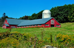 Saxton's River, VT: Red Dairy Barn and Silo Stock Photo
