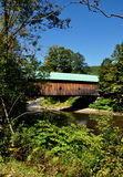Saxtons flod, VT: Hall Covered Bridge Royaltyfri Foto