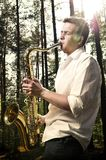 Saxy player men Stock Photo