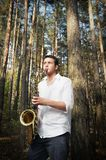 Saxy player men Stock Photography