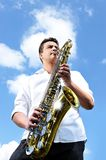 Saxy player men Royalty Free Stock Photos