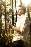 Saxy player men Royalty Free Stock Photography