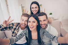 Free Say Cheese! Close Up Of An Excited Friend`s Selfie, Taken At Home. Young People Enjoy Their Company, Smiling And Showing Two Royalty Free Stock Image - 119416466