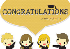 Say congratulations. Four graduate say congratulations , we did it! on orange dot banner and hat above word Royalty Free Stock Photo