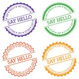 Say hello badge isolated on white background. Flat style round label with text. Circular emblem vector illustration Stock Photos