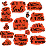 Say hello to autumn labels Royalty Free Stock Photo