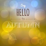 Say Hello to Autumn. Season greeting card Stock Photos