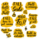 Say hello to fall set. Say hello to fall, Fall sale, Happy fall y'all. Set of hand lettering typography inspirational quotes. Ink brush calligraphy. For Stock Photo
