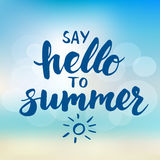 Say hello to summer - card with hand drawn brush lettering. Stock Images