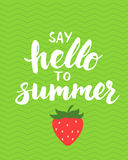 Say hello to summer - card with hand drawn brush lettering. Royalty Free Stock Photo