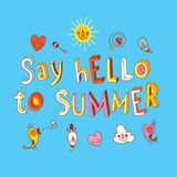Say hello to summer. Hand lettering design with cute characters Royalty Free Stock Photo