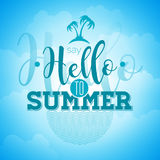Say Hello to Summer inspiration quote on blue sky background. Vector typography design element for greeting cards and posters. Eps 10 illustration Royalty Free Stock Image