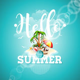 Say Hello to Summer inspiration quote paradise island on blue background. Vector typography design element for greeting cards. And posters. Eps 10 illustration Royalty Free Stock Photos