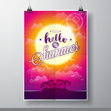 Say Hello to Summer inspiration quote on seascape background. Vector typography design element for greeting cards and posters. Eps 10 illustration Stock Photo