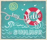 Say hello to summer lettering poster. Hand-drawn  illustration on textured background. Lifebuoy and summer sea or ocean view. Modern brush and hand-lettering Royalty Free Stock Photo