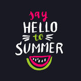 Say hello to summer. Modern hand drawn lettering phrase. Calligraphy brush and ink. Handwritten inscriptions and quotes for layout and template. Vector Royalty Free Stock Photos