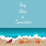 Say Hello To Summer Retro Card Stock Image