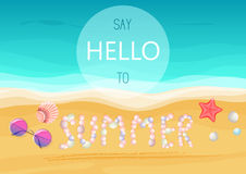 Say hello to summer text on sandy seashells shore. Vector illustration. Summer poster. Say hello to summer text on sandy seashells shore. Vector illustration Royalty Free Stock Image