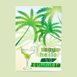 Say Hello to Summer. Typographic poster. Say Hello to Summer. Typographic sea background with palm trees and cocktail. Layout in A3 size Royalty Free Stock Photo