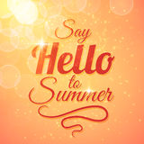 Say Hello to Summer vector sunshine background. With sun rays and bokeh. Beautiful motivating card design Royalty Free Stock Photo