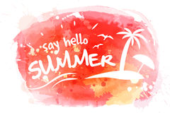Say hello to summer watercolor vector hand paint background. Summer advertisement background with text and palm, beach and umbrella Stock Photo
