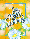 Say Hello to Summer. Yellow Summer, spring,background with hummingbirds butterflies and isolate flowers. Banner theme of Summer time of the year.Summer poster Royalty Free Stock Image