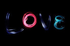 Say it with light : Love. Say the word of Love by light royalty free stock photos
