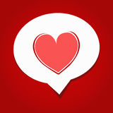 Say love. Pink heart on white text box above red background Stock Images