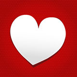 Say about love. White heart with gray cradient on red dot paper background Stock Image