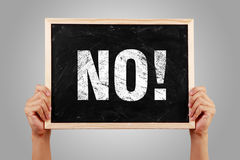 Say No. No blackboard is holden by hands with gray background Royalty Free Stock Photography