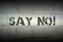 Say no GR. Say no exclamation stencil print on the grunge white brick wall Royalty Free Stock Photos
