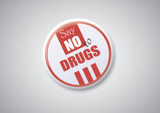 Say No To Drugs. On a white Button Badge Royalty Free Stock Photo