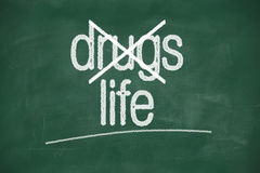 Say no to drugs, choose life. Say no to drugs,choice life- message on green chalkboard royalty free stock images