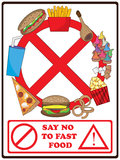 Say No To Fast Food_eps. Illustration of say no to fast food poster or elements on white background Royalty Free Stock Image