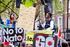 Say No To Nato Protest. LONDON, UK - 19 May 2012: participants at the Say No To NATO protest called by STWC and CND in front of the US embassy in Grosvenor Royalty Free Stock Images